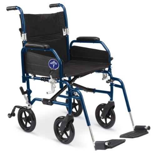 Medline Combination Transport Chair and Wheelchair, 18' Wide Seat, Desk-Length Arms, Elevating Legrests
