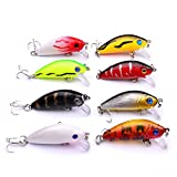 Fishing Tackle Freshwater Saltwater Minnow Fishing Lures 4.8CM/3.4G Fishing Bait (Pack of 8)