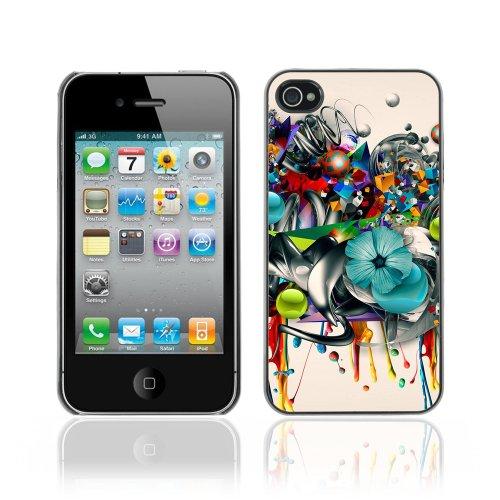 Designer Depo Etui de protection rigide pour Apple iPhone 4 4S / Flower Graffiti Abstract Art