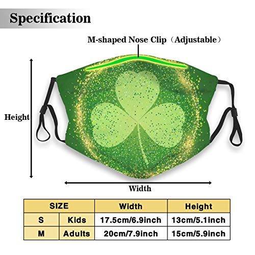 St. Patrick's Day Lucky Shamrock Green Waterproof Dust Face Mask For Men Women Kids Ski Cycling Camping Windproof Mouth Masks
