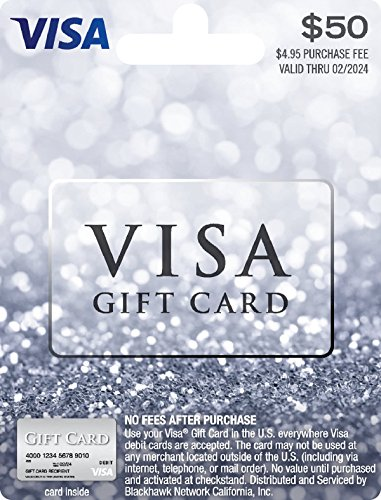 $50 Visa Gift Card (plus $4.95 Purchase Fee) - Dollar Return Gifts