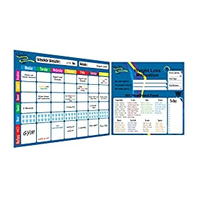 Weekly Meal Planner and Tracker Dry Erase Board – Refrigerator Calendar Food Diary Tracks Water, Healthy Snacks, and Weight Loss – Magnetic Diet Smart Planner + 4 Dry Erase Markers by Healthy Planner
