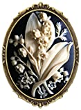 Flower Bouquet Brooch Pin Shield Decor Antique Brass Cameo Fashion Jewelry Pouch for Gift