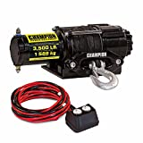 Winch Kit 1,588 kg Powerful and Reliable Champion ATV Electric Winch Kit with Synthetic Rope Planetary Gear System Automatic Braking Action and Handlebars Mounted Remote Control Included