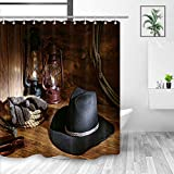 Western Fabric Shower Curtain Bathroom, West Rodeo Cowboy Black Felt Hat Ranching Tools in A Barn, Mildew Resistant Polyester Bathroom Decorations, Bath Curtains Hooks Included, 69X70 inches