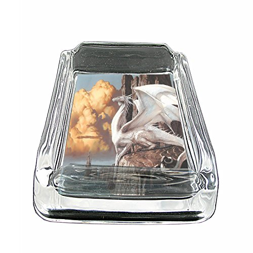 "Price comparison product image Dragon Mythical Creature Fantasy S38 Glass Square Ashtray 4""x3"" Sturdy Cigarette Smoking Bar"