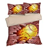 Fabulous Baseball Wall Cotton Microfiber 3pc 80''x90'' Bedding Quilt Duvet Cover Sets 2 Pillow Cases Full Size