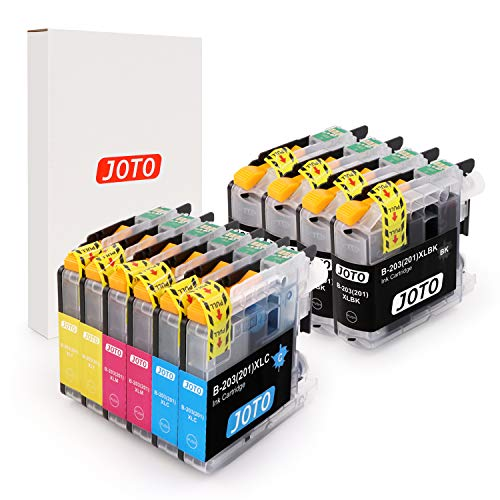 JOTO Compatible Ink Cartridge Replacement for Brother LC203XL LC203 XL LC201 MFC-J480DW MFC-J885DW MFC-J485DW MFC-J880DW (4 Black, 2 Cyan, 2 Magenta, 2 Yellow, 10 Pack)