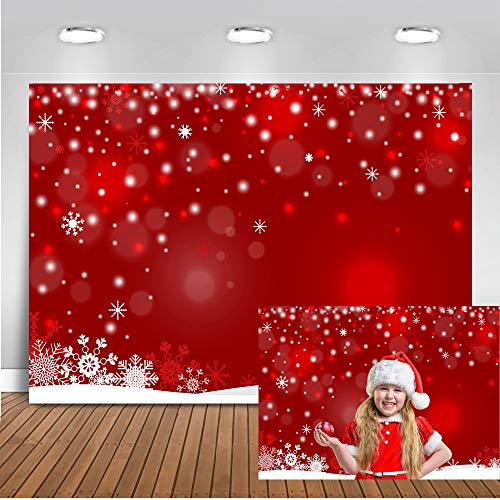 Mocsicka Red Christmas Backdrop 7x5ft Vinyl Red Winter Snowflake Photo Studio Background Red Christmas Bokeh Photography Backdrops