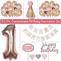 PapaKit Baby Girl 1st Birthday Party Decoration Kit, Sparkling Metallic Rose Gold, 32 Piece Set (Large Bunting Banner, Customizable Cake Toppers, Party Hat, Giant Mylar One, Confetti and Assorted Balloons)