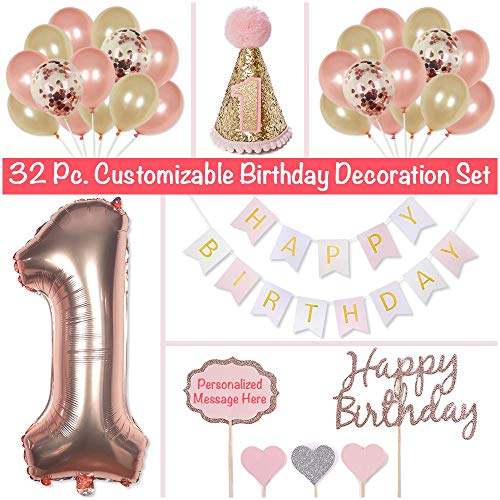 PapaKit Baby Girl 1st Birthday Party Decoration Kit, Sparkling Metallic Rose Gold, 32 Piece Set (Large Bunting Banner, Customizable Cake Toppers, Party Hat, Giant Mylar One, Confetti and Assorted Ball