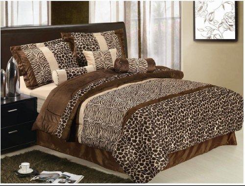 7 Pcs Animal Zebra Giraffe Soft Micro Fur Chocolate Brown Beige Comforter Set Queen (Brown Cream Zebra)