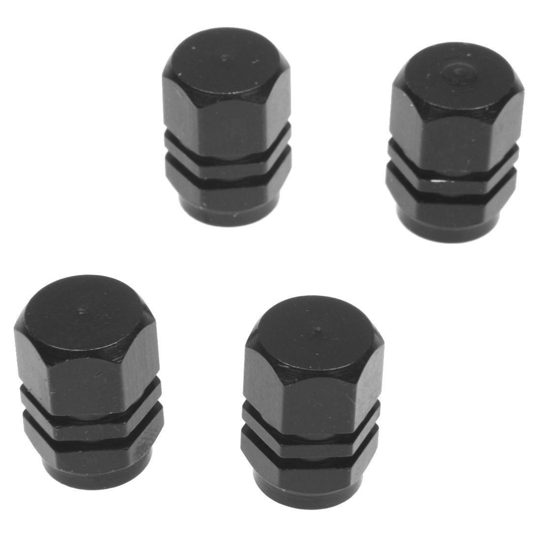 Valve cap - TOOGOO(R)Set of 4 Alu valve caps for tires of bicycle, motorcycle, car - Black