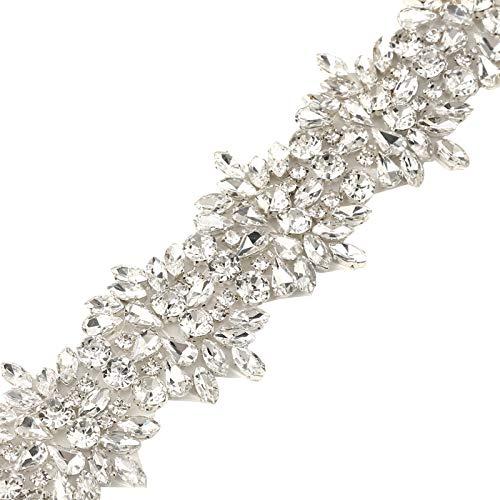 Rhinestone Applique Sliver-Handmade Rhinestones Accessories Decoration-Crystal Appliques for Bridal Belt Wedding ()