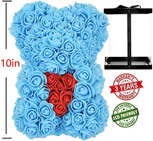 Rose Bear - Rose Teddy Bear -Over 250+ Flowers on Every Rose Bear Perfect for Anniversary`s Birthdays Bridal Showers Mothers Etc. - Clear Gift Box Included 10 Inches (Blue)
