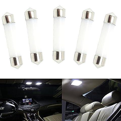Bonlux 5-pack Car Dome Festoon Interior LED Light Bulb 12V 42mm 1Watt Warm White Festoon (Bianco Festone)