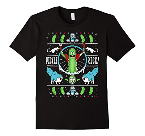 Mens Pickle Rick Pattern - Rick and Morty T-Shirt 3XL Black