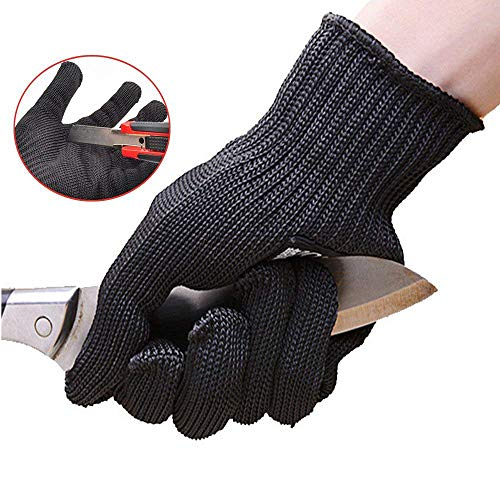 Dohuge Cut Resistant Gloves Heat Resistant Gloves Anti-Vibration Safety Gloves for Work, Kitchen,Garden,Cutting and Slicing, Hand Protection Level 5, Food Grade (2 Pair, Black)