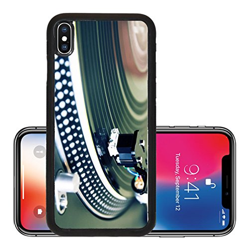 Liili Premium Apple iPhone X Aluminum Backplate Bumper Snap Case Record player spinning the disc with music Photo 7924871]()