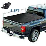 YITAMOTOR Soft Tri-Fold Truck Bed Tonneau Cover Compatible with 2014-2018 | 2019 Classic Only Chevy Silverado/GMC Sierra 1500, Fleetside 5.8 ft Waterproof Tear-Resistant PVC Pickup Cargo Bed