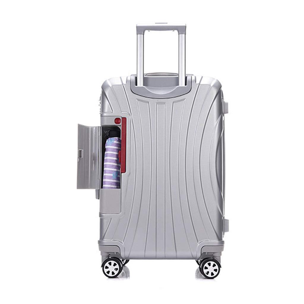 Absの堅い貝旅行はコップホールダーおよび4つの車輪、35 * 23.5 * 53.5cmが付いている小屋手の荷物のスーツケースの極度の軽量で運びます  silver grey B07MSBYBPK
