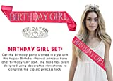 """2-Pack Set of Birthday Girl Tiara and Birthday Sash - Rhinestone Crown with """"Birthday Girl"""" Polyester Sash Decoration for 16th, 18th, 21st and 30th Birthdays or Quinceaneras"""