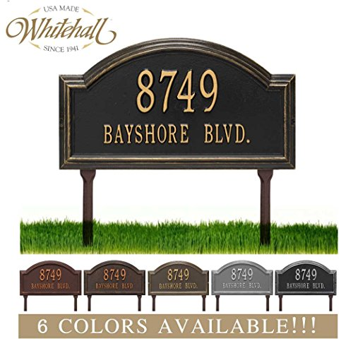 Metal Address Plaque Personalized Cast Lawn Mounted Providence Arch Plaque. Display Your Address and Street Name. Custom House Number Sign. (Plaques House Marker)