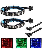Speclux 2 pcs LED RGB kit de boîtier de tour ordinateur PC de bureau Computer Light Strip avec 24 touches télécommande, RGB 5050 SMD magnétique lumière LED flexible lampe Bande