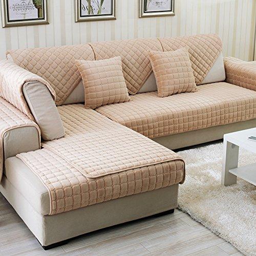 DW&HX winter Thicken Flannel plush Sofa cushions, Cover Anti-skidding Fabric Sofa cover Cushion-A 110x110cm(43x43inch) by DW&HX (Image #1)'