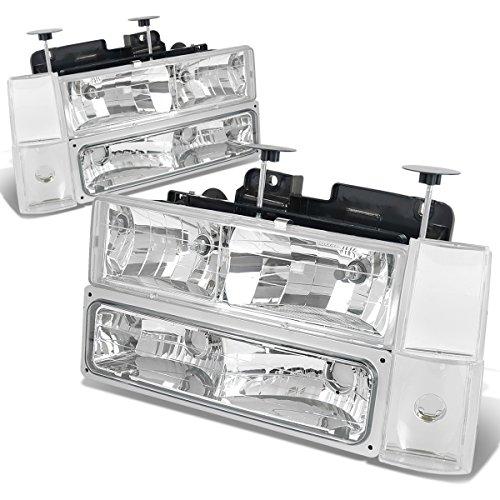 For Chevy C10 C/K Series GMT400 Pre-facelift 8PC Chrome Housing Headlight+Bumper+Corner Lights Kit ()