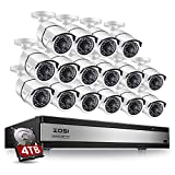 ZOSI 1080p 16 Channel Video Surveillance System,16 Channel DVR 4TB (Hard Drive) 1080p Hybrid Recorder and 16 Outdoor/Indoor CCTV Bullet Camera 1080p with 100ft Long Night Vision and 105°Wide Angle For Sale
