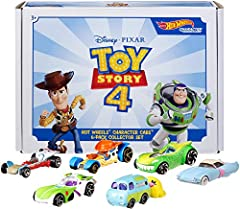 Hot Wheels celebrates the popularity of Disney and Pixar Toy Story 4 featuring beloved characters as cars. These packs introduce new characters and familiar friends. Fans of the hilarious and heartfelt blockbuster will love this unique colle...