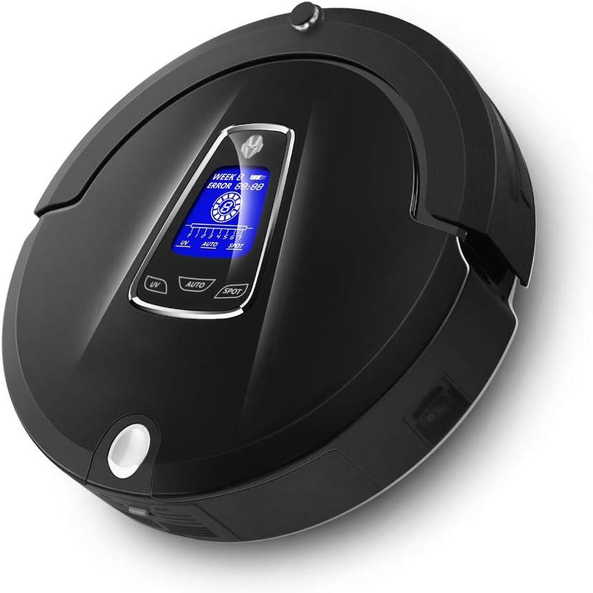 ZLAHY Robot de balayage robot aspirateur pour la maison Réglage de la vitesse, Télécommande, Anti-chute, mis à jour à partir de bloqueur virtuel, Noir Noir