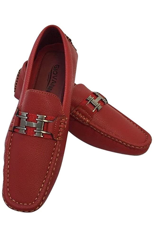 Mens Giovanni Loafer Dress Shoes Italian Style Slip On Solid Red with Gold Stitch 9516