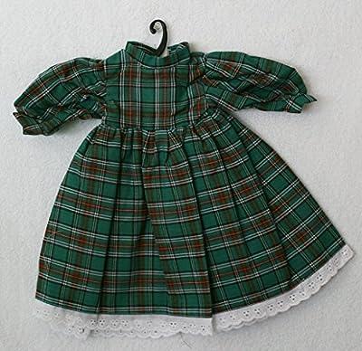 """Porcelain Doll Green Plaid Dress, Collar W. 7 Cm, Shoulder W. 11 Cm, Sleeve L. 12 Cm, Cuffs W. 3 Cm, Bust W. 10.5 Cm, Waist 12 Cm, Overall L. 28 Cm.,may Fit 18-20"""" Doll"""