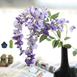 Artificial Silk Wisteria Fake Flowers , Cywulin 1 Bunch Hanging Flower Plant Vine Decor for Wedding Bouquet House Office Garden Inddor Outdoor (Purple)