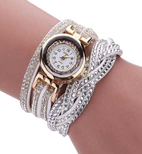 (Clearance Sale!DEESEE(TM) Brand Watches Women Luxury Crystal Women Gold Bracelet Quartz Wristwatch Rhinestone Clock Ladies Dress Gift Watches (White))