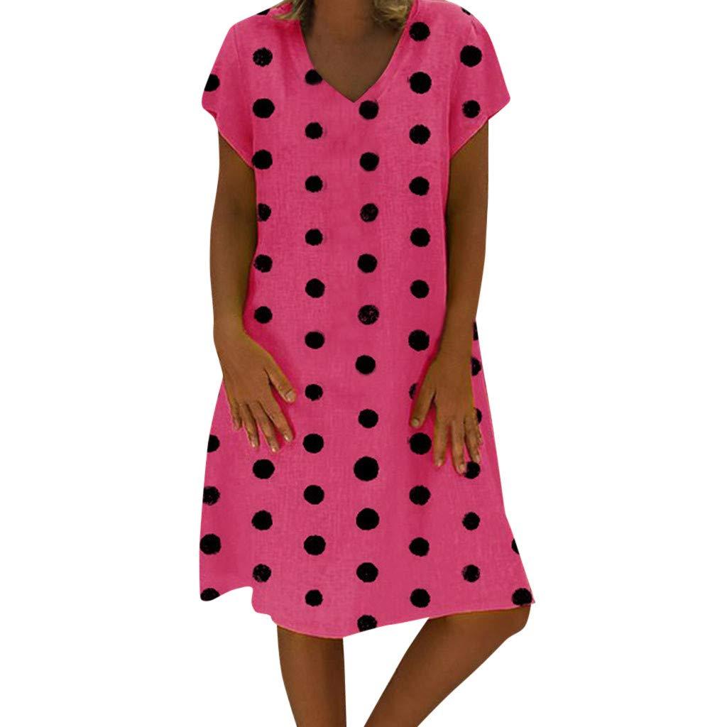 Women Dresses V Neck Short Sleeve Polka Dot Loose Casual Mini Dress (L, Hot Pink)