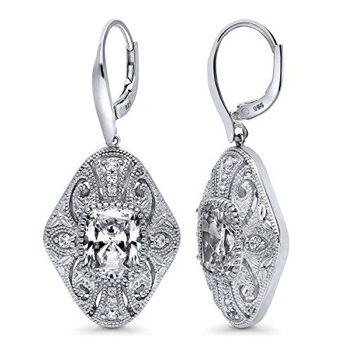 BERRICLE Rhodium Plated Sterling Silver Cubic Zirconia CZ Statement Art Deco Filigree Milgrain Leverback Wedding Dangle Drop Earrings ()