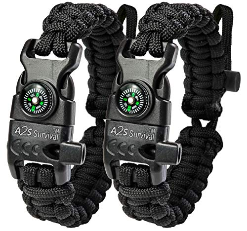 A2S Paracord Bracelet K2-Peak - Survival Gear Kit with Embedded Compass, Fire Starter, Emergency Knife & Whistle - Pack of 2 - Slim Buckle Design (Black/Black Adjustable Size)