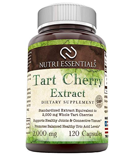Nutri Essentials Tart Cherry Extract - 2000 Mg, 120 Capsules - Anti-oxidant & Anti-Inflammatory Properties - Supports Healthy Joints & Connective Tissues - Promotes Balanced Healthy Acid Levels