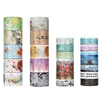Molshine 24 Sets Decorative Japanese Washi Masking Adhesive Sticky Paper Tape -Chinese Classical Poetry Series Collection, (10 Rolls 30mm X 5m, 14 Rolls 15mm X 7m) for Journals, Daily Planners DIY