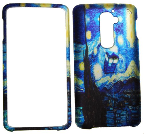 Rubberized Faceplate Phone - IMAGITOUCH(TM) 3-Item Combo LG G2 (T-Mobile) - Rubberized Design Snap On Hard Case Cover Protector Faceplate - Dr Who Tardis Van Gogh Starry Night (Stylus pen, Pry Tool, Phone Cover)