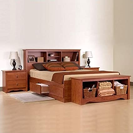 Amazon.com: Prepac Monterey Cherry Queen Wood Platform Storage Bed 3 ...