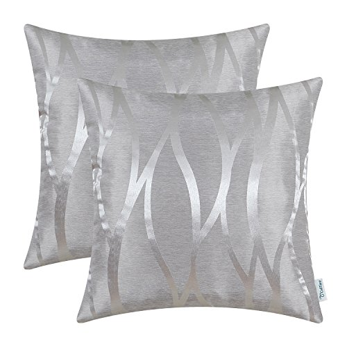 CaliTime Pack of 2 Throw Pillow Covers Cases for Couch Sofa Home Decor Modern Shining & Dull Contrast Abstract Water Waves Lines Geometric 18 X 18 Inches Silver Gray