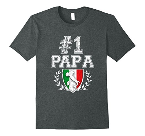 Mens Number One Papa! Vintage Italian Father's Day T-Shirt 2XL Dark (Italian Family Crest)