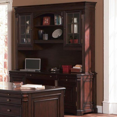 Cherry Traditional Kneehole Computer Credenza and Hutch Rich Brown Computer Kneehole Credenza