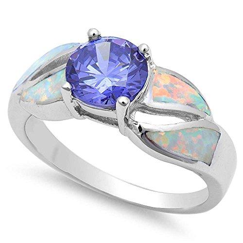 Simulated Tanzanite & White Fire Opal .925 Sterling Silver Ring Size - Fire Ring Opal Tanzanite