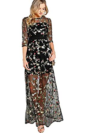 DIDK Women's A Line Floral Embroidery Mesh Sheer Evening Cocktail Dress Black XS