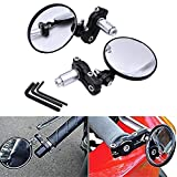 KaTur 2x Motorcycle Motorbike Rear View Mirror Handle Bar Circular Foldable Blindsight Side Convex Mirror